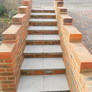 Concrete paving Steps and brick walling