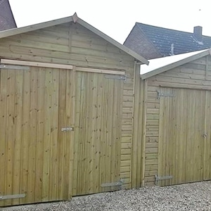 Double wooden shed